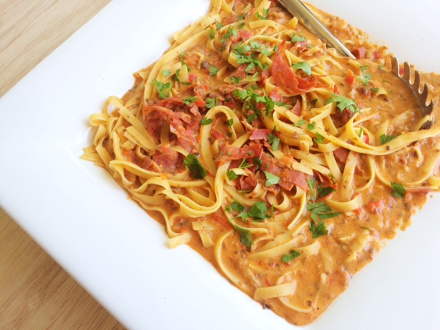Creamy Tomato and Chorizo Salami Pasta - Cooking for Busy Mums