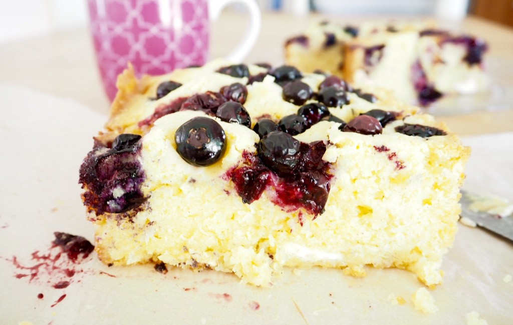 Blueberry and White Chocolate Blondie - Cooking for Busy Mums