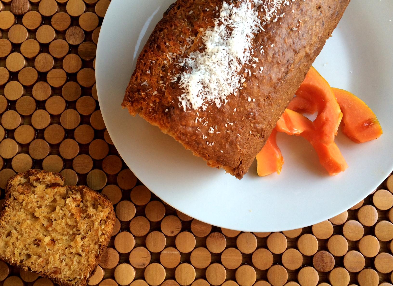 Papaya, Banana & Coconut Bread