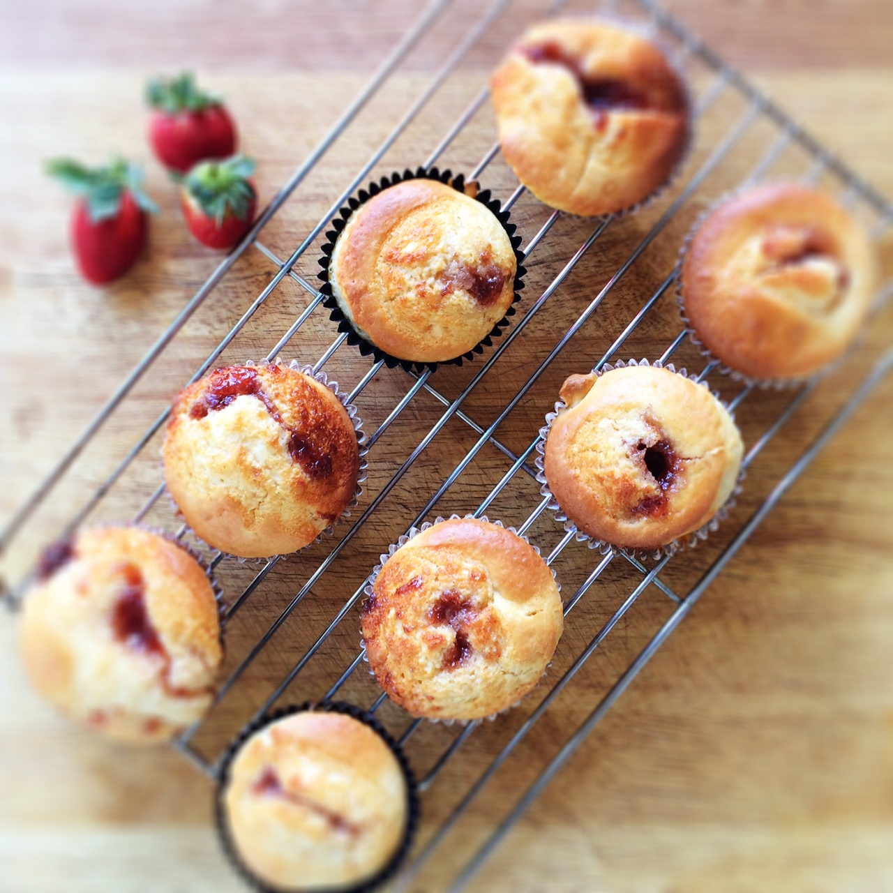 Strawberry Jam Centred White Choc Chip Muffins