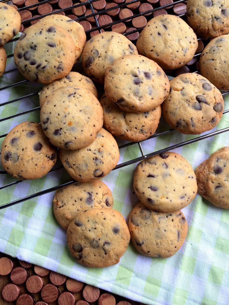 Orange, Choc Chip (Jaffa) and Black Chia Seed Biscuits