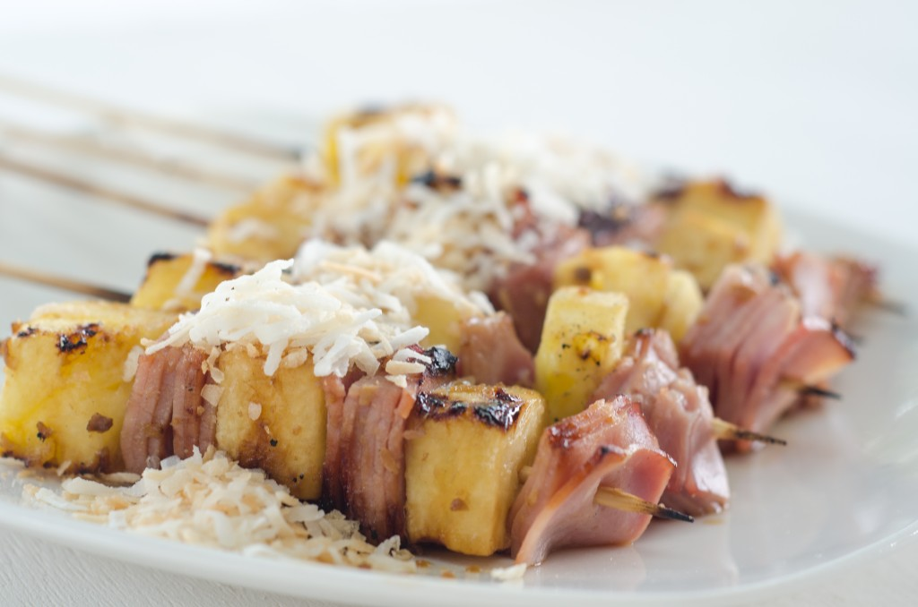 Grilled Ham and Pineapple Kebabs with a Ginger Sauce