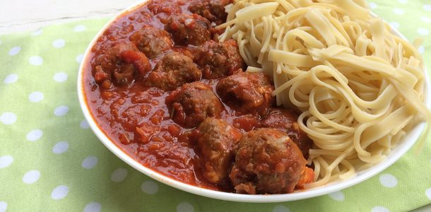 Lamb and Fetta Meatballs with Spaghetti and Sauce