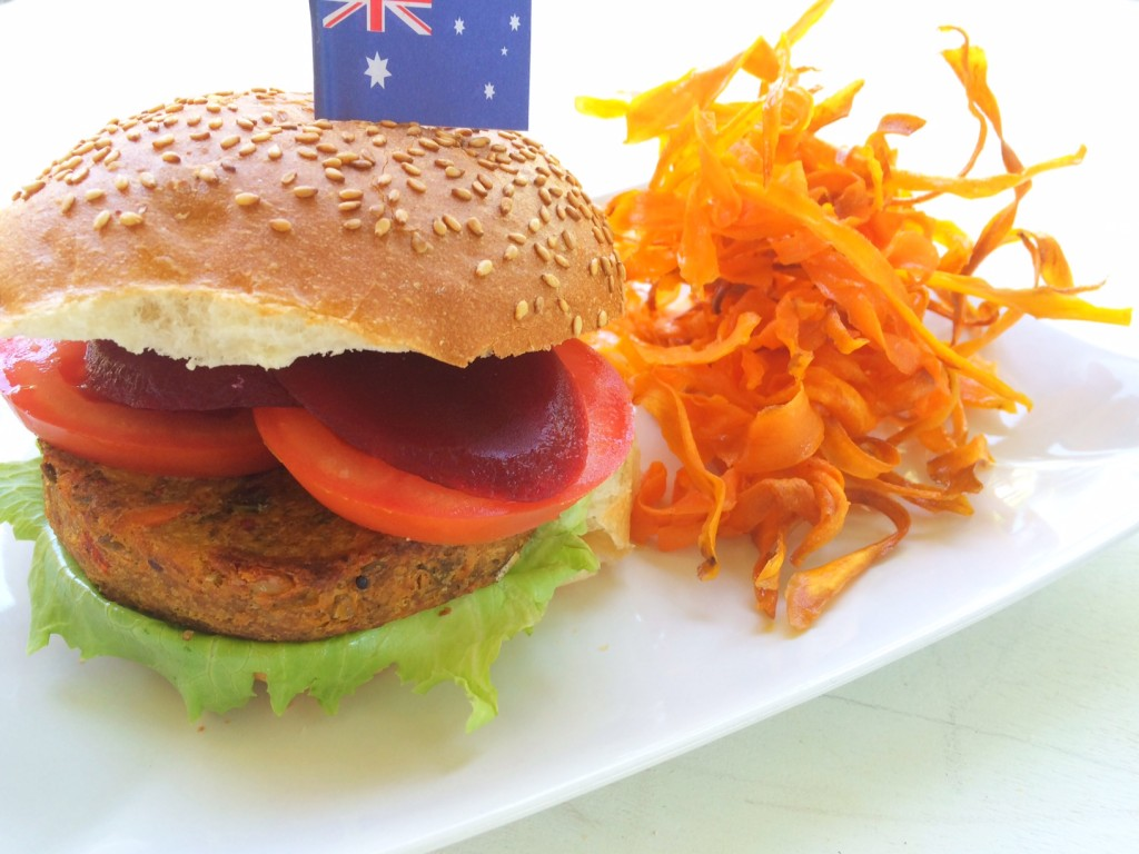 Aussie Vegetable Burger with Sweet Potato Fries