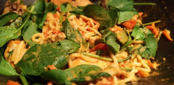 Laksa Style Noodles with Chicken and Vegetable