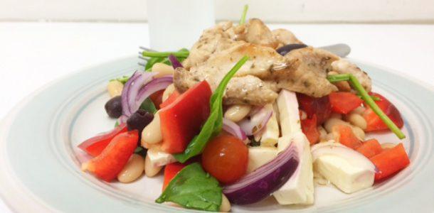 Work Lunch: Greek Salad with Grilled Chicken Breast