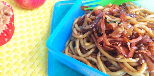 Two Minute Sesame Noodles with Hidden Vegetables