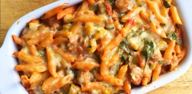 Cheese and Tomato Sausage Pasta Bake with added Green Vegetables