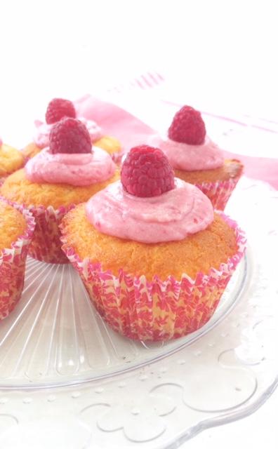 Lemon Cupcakes with Raspberry Icing
