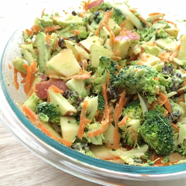 Fresh & Tasty Broccoli And Apple Salad with Avocado Dressing - side dish or work lunch