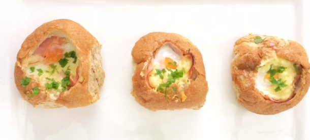 4 Ingredient Ham, Egg and Cheese Baked Bread Rolls