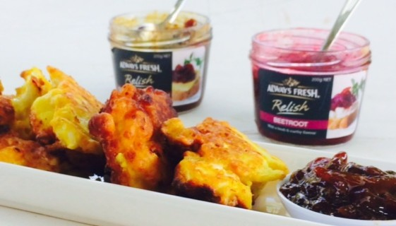 Cauliflower & Cheese Fritters with Caramalised Onion and Beetroot Relish plus WIN!