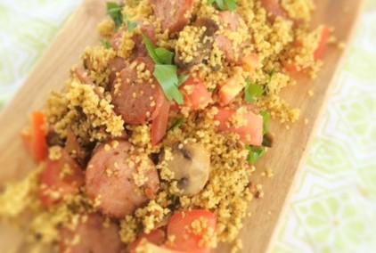 Warm Couscous salad with Krakowurst, Mushroom and Fresh Tomato