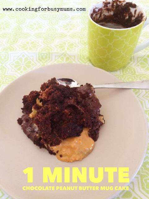 1 Minute Chocolate and Peanut Butter Mug Cake