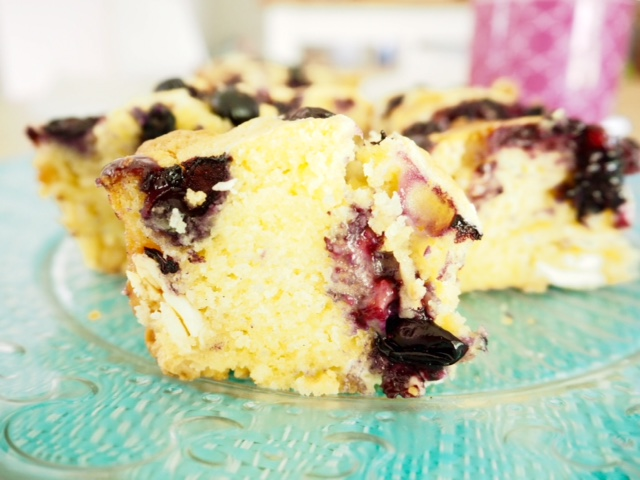 Blueberry and White Chocolate Blondie