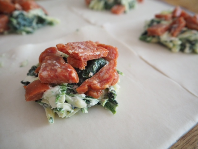 Traditional Italian Salami, Spinach and Cheese Puffs