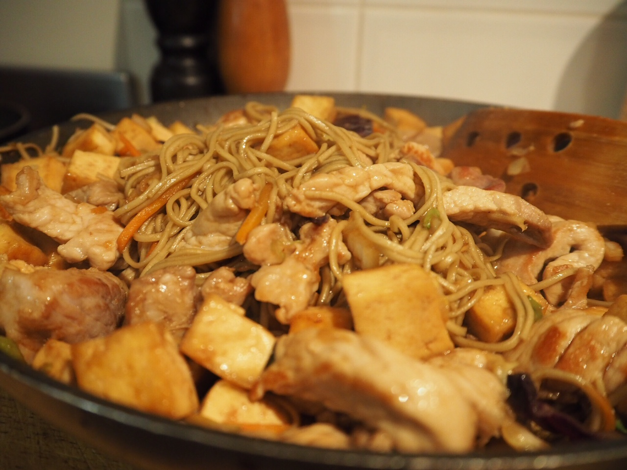 Gluten Free Pork, Tofu and Soba Noodle Stir Fry