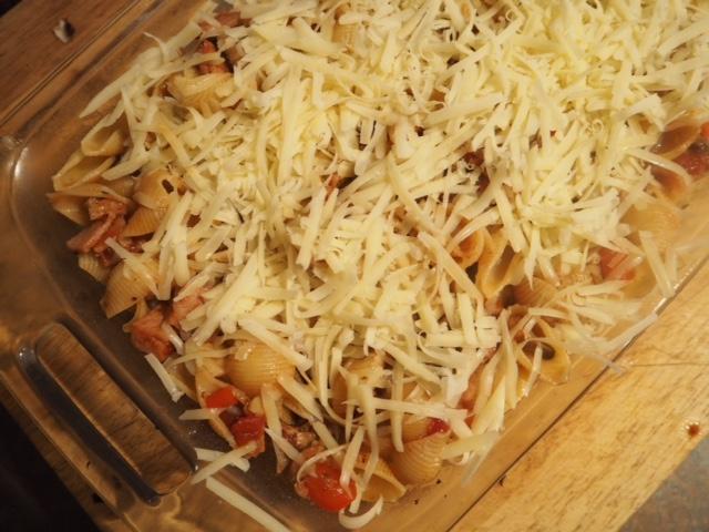 Bacon and Mushroom Shell Pasta Bake