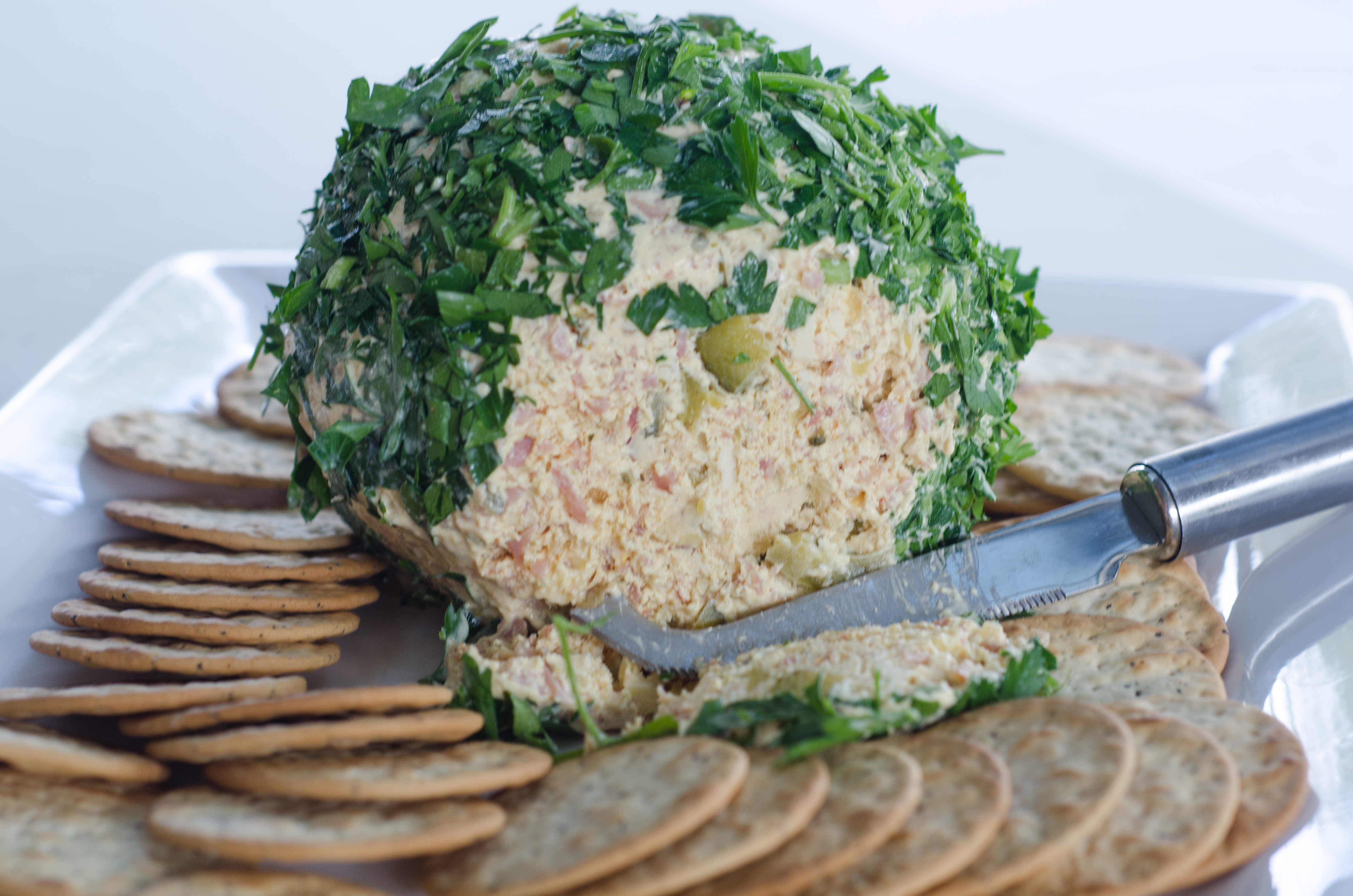 Honey Ham off the bone and Dill Pickle Cheese Spread Ball