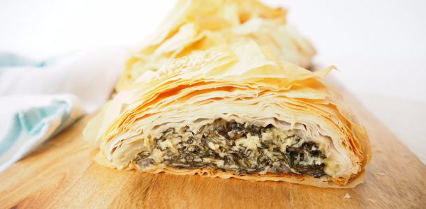 Silverbeet and Cheese Filo Log