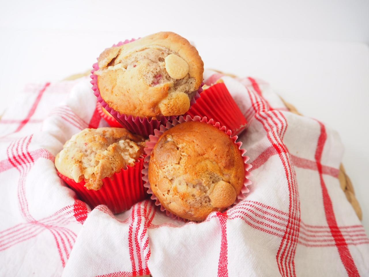 Banana, Strawberry and White Chocolate Muffins