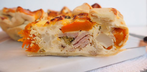 Roasted Vegetable and Bacon Quiche