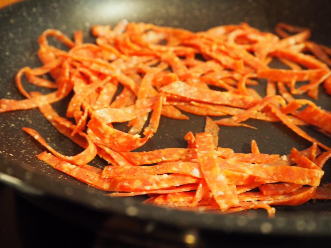 Crunchy Salami, Penne Pasta and Poor Man's Parmesan