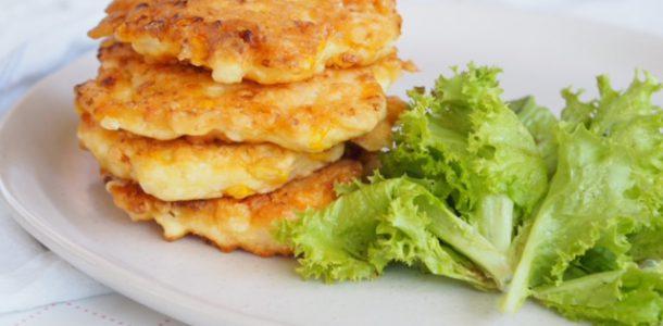 Chicken, Cauliflower, Corn and Feta Fritters