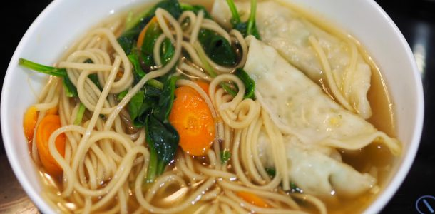 Quick Dumpling, Noodle and Vegetable Soup