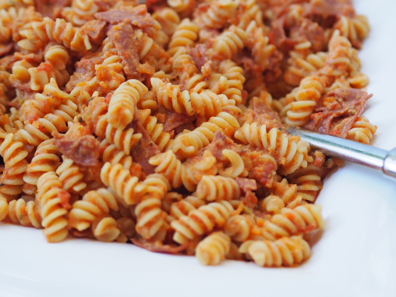 Creamy Five Vegetable and Salami Fusilli Pasta