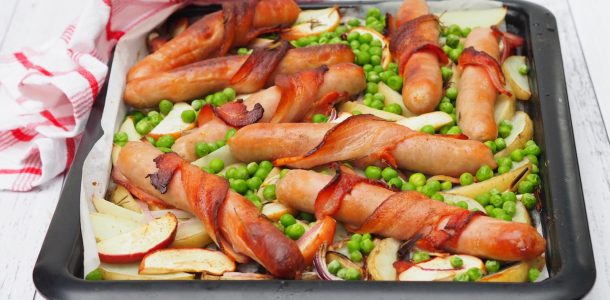 Tray Bake: Bacon Wrapped Sausages