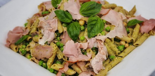 Summer Ham, Pesto and Penne Salad