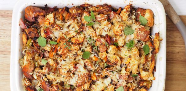 Bacon and Onion Tray Bake Stuffing