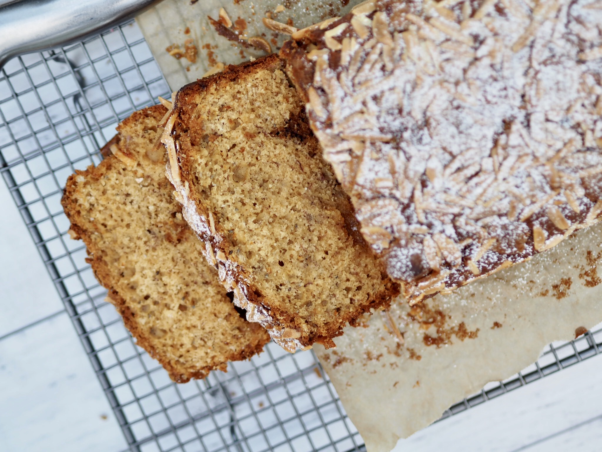 White Chocolate Banana Bread with Chia Seeds and Almonds