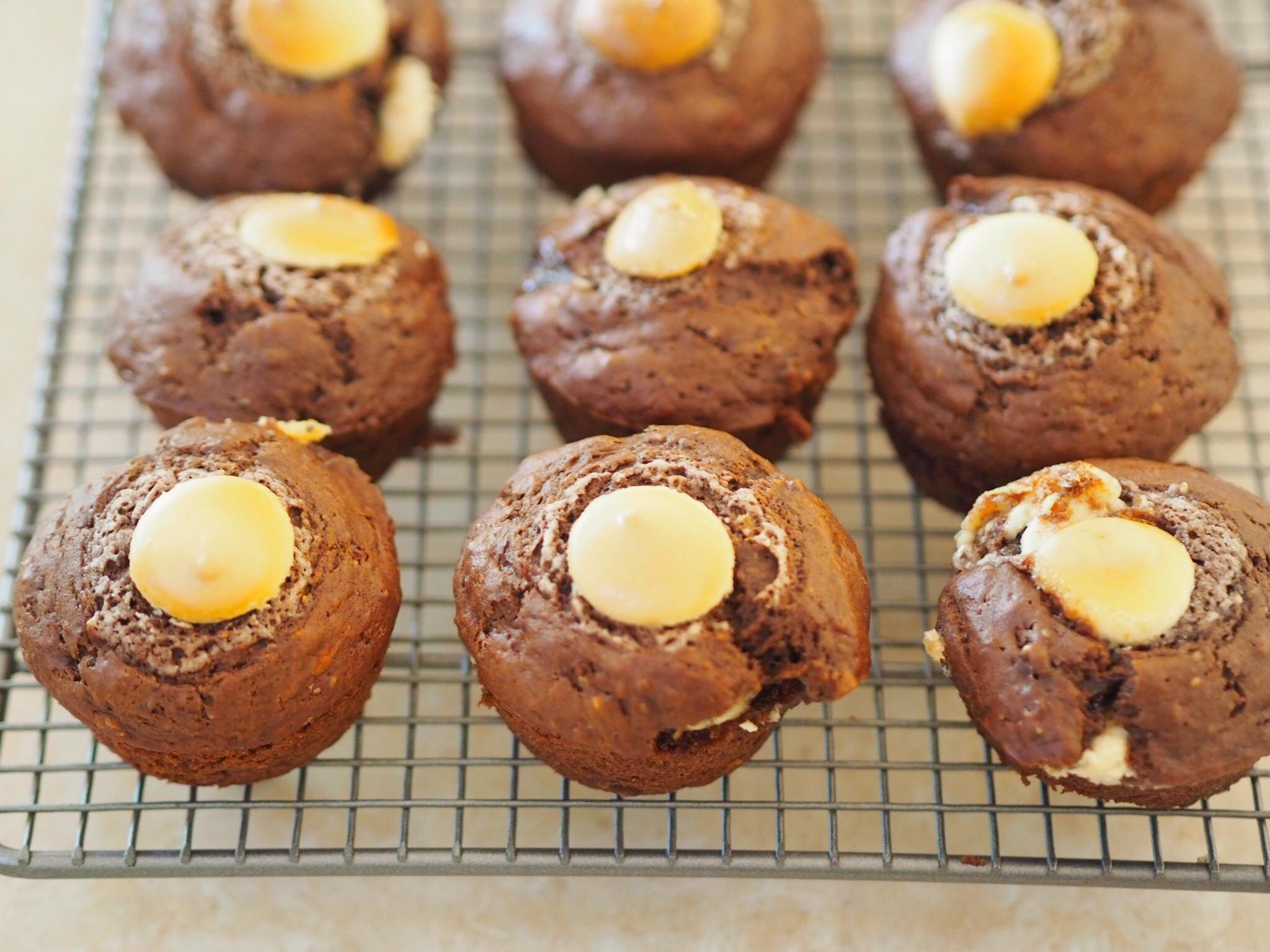 Chocolate Banana Muffins with White Chocolate Chips
