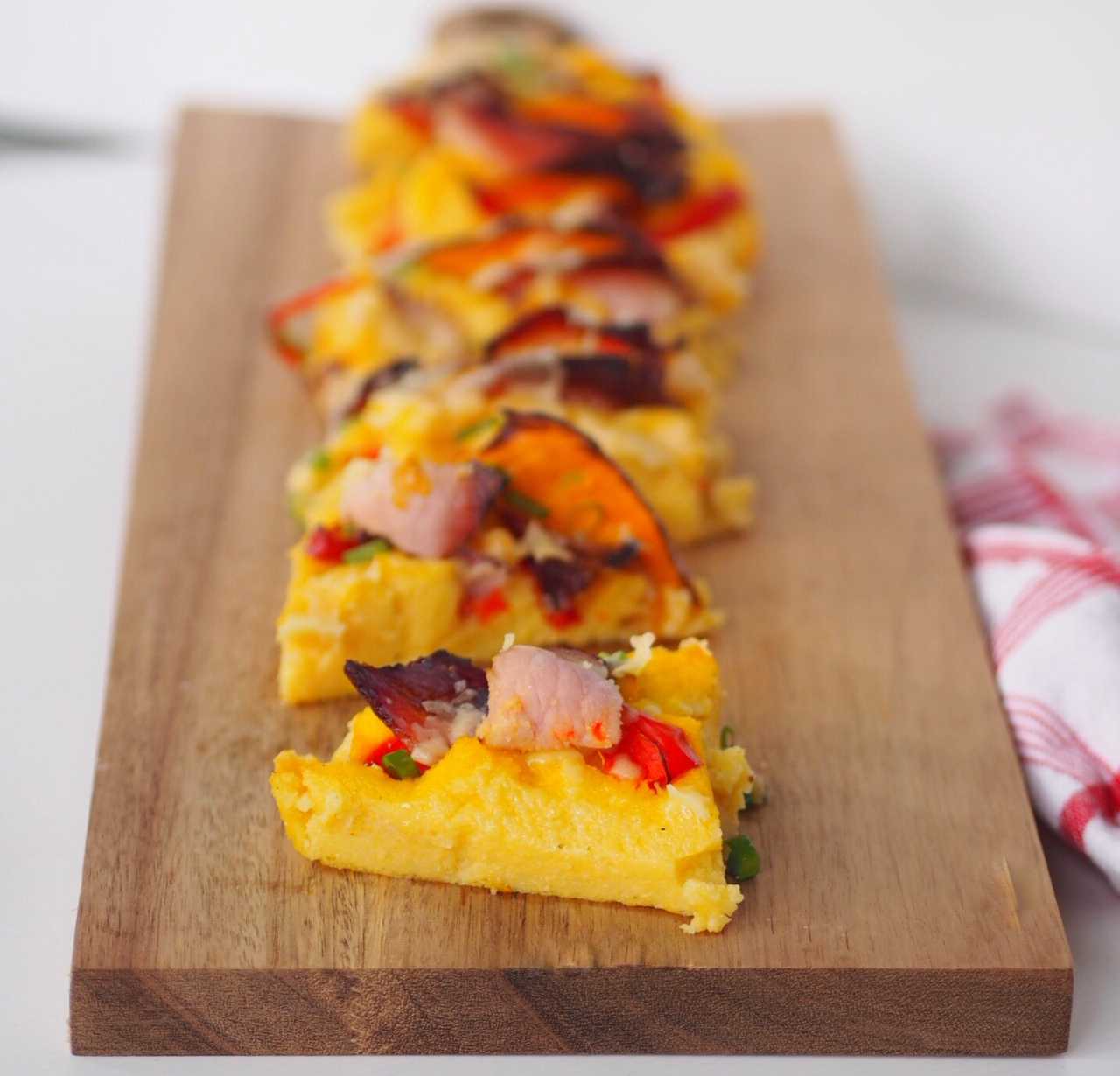 Baked Polenta Slice with Crispy Bacon, Pumpkin and Capsicum