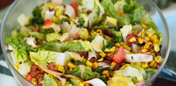 Chopped Salad with Deli Chicken, Bacon and Corn